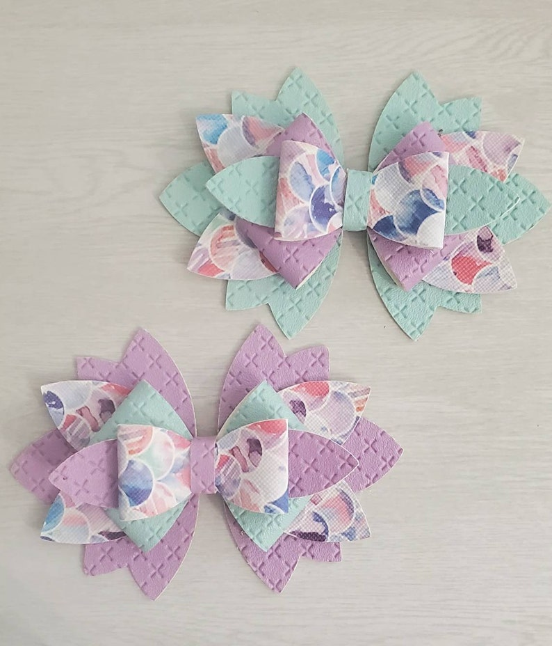 Purple and pink 6 layered mermaid bow blue
