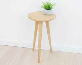 Solid oak Nightstand / Flower stand / Mid century bedside / Natural oiled wood / Side Table/ Minimalist / Modern /