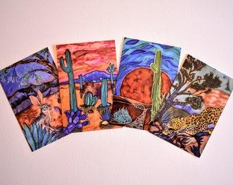 Vibrant Desert - set of 4 postcards