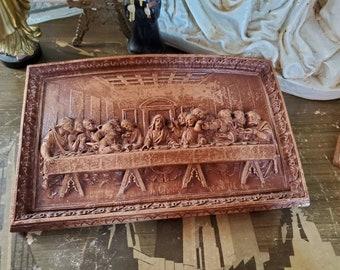 Vintage Last Supper Plaque - Mid-Century Religious Art - Jesus Christ - Lent - Easter