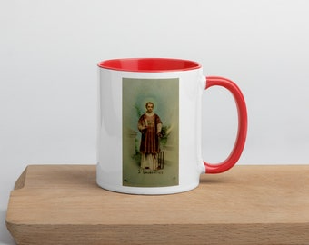 St. Lawrence of Rome - Mug with Color Inside - Patron Saint of Chefs and Comedians - Confirmation Gift - Catholic Christian
