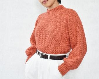 Crochet sweater pattern, Easy crochet sweater pattern, Balloon sleeve sweater, Modern crochet pullover, Crochet cozy cardigan pattern