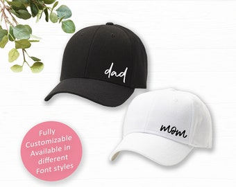 Mom and Dad Hats, Pregnancy Announcement Caps, Gender Reveal Hats, Baby Announcement, New Dad and Mom Baseball hats