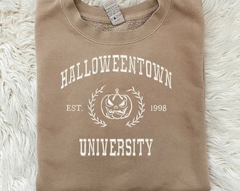 Halloweentown University Embroidered Beige Crewneck - High Quality Pullover for Fall - Spooky Designs - Unisex Cute Hoodie- Perfect Gift