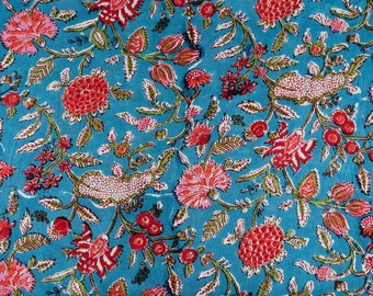 Floral Blue 100/% Cotton Quilting Fabric by the yard Quilt Fabric fabric for masks Indian Fabric fabric for face maskfabric for curtains