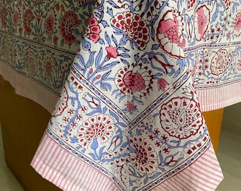 Pigeon Blue And Flamingo Pink on White Flower And Pink Color Border Design Hand Block Print Table Cloth Table Cover And Linen Set