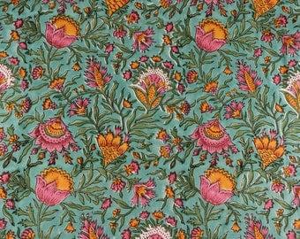 Turkish Blue, Fern Green, Golden Yellow Print fabric, Fabric by the yard, Quilt Fabric, Print Fabric, Light Weight Fabric for Summer Dress