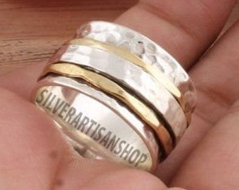Spinner Two Tone Ring,925 Sterling Silver Spinner Ring,Meditation Band Spinner Ring,Handmade Thumb Spinner Ring,Boho Silver Spinner Ring