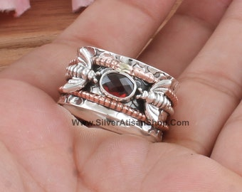 Details about  /Garnet Ring 925 Sterling Silver Spinner Ring Meditation Statement Jewelry TA5