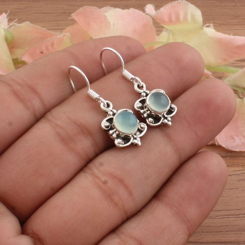 Aqua Calci Top Quality Boho Silver Earring,Cabochon Round Earring,925 Sterling Silver Earring,Opaque Earring For Women Earring Gift For Her