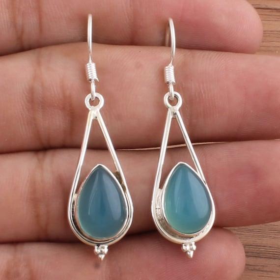 Boho Aqua Calci+Blue Topaz Semi Precious Stone Boho Silver Earring,925 Sterling Silver Earring,Combo Bejal Earring,Birthday Gift Earring