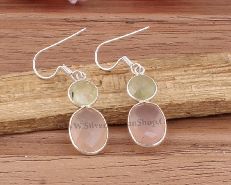 Bejal Earring-Boho Solid Silver Earring-Rose Quartz With Prehnite Top Quality Gemstone Earring-Two Stone Earring Daily Use Earring For Mom