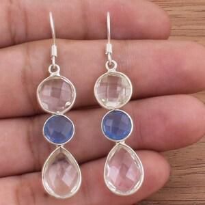Natural Rose Quartz+Prehnite Semi Precious Stone Boho Silver Earring,925 Sterling Silver Earring,Combo Bejal Earring,Birthday Gift Earring