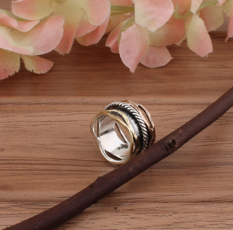 925-Sterling Solid Silver Ring Thumb Ring Spinner Beautiful Ring One Tone Brass,Worry Ring Meditation Spinner Ring Three Tone Ring