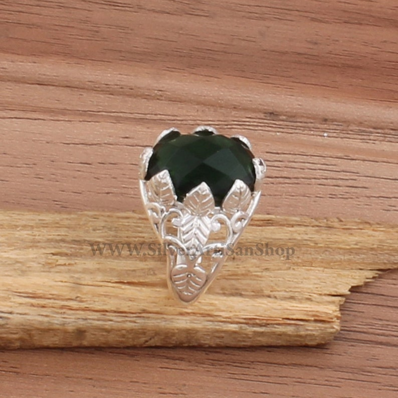 Leaf Ring-Green Onyx Ring Sterling Silver 925 Solid Silver Ring-Three Leaf Design Ring-Green Onyx Semi Precious Ring-Gift Item Rings