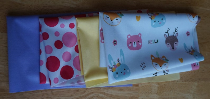 and Lavender Baby Animals Pink Dots Yellow PUL Diaper Cut Bundle