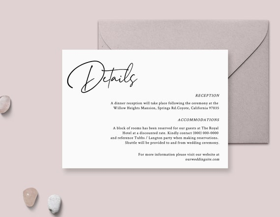 Wedding Invitation Details Card Template Simple Enclosure Card With Elegant Script Font Printable Modern Minimalist Wedding Inserts Nina By Balearica Studio Catch My Party