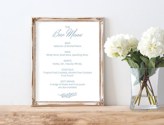 Printable Burgundy Navy Blue Theme Decor for Receptions and Partys Alcohol Bar Table Signs for Wedding and Showers 5x7 and 8x10