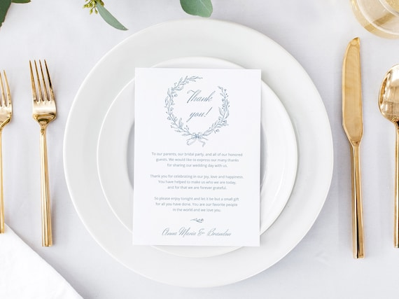 Reception Thank You Letter Template Dusty Blue Wedding Thank You Napkin Note Printable Monogram Wreath Wedding Menu Thank You Card Nika By Balearica Studio Catch My Party