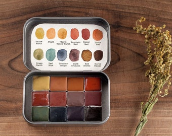Mineral watercolor paint palette, Handmade watercolors, Handmade paint. Art supply.  Christmas gift. #2