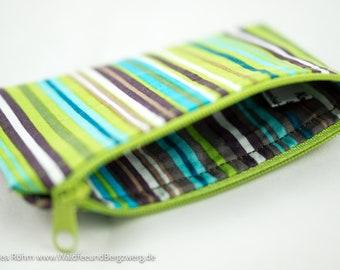 Mini-Tasche für Kleinigkeiten/Geld mit grünen Streifen