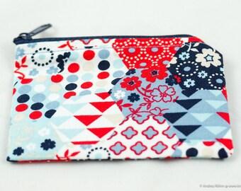 Mini-Tasche für Kleinigkeiten/Geld in rot und blau Tönen