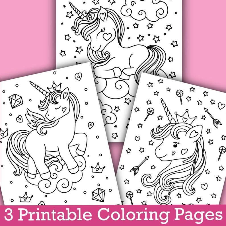 Printable Unicorn Coloring Pages For Kids Cute Baby Unicorn Coloring Sheets Coloring Of Unicorns For Girls Unicorn Pictures To Color In Digital Art Collectibles Kromasol Com
