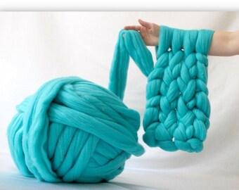 Merino wool yarn, chunky yarn, giant chunky knit blanket yarn, jumbo yarn, roving for arm knitting, wool roving, felting wool, grandma gift