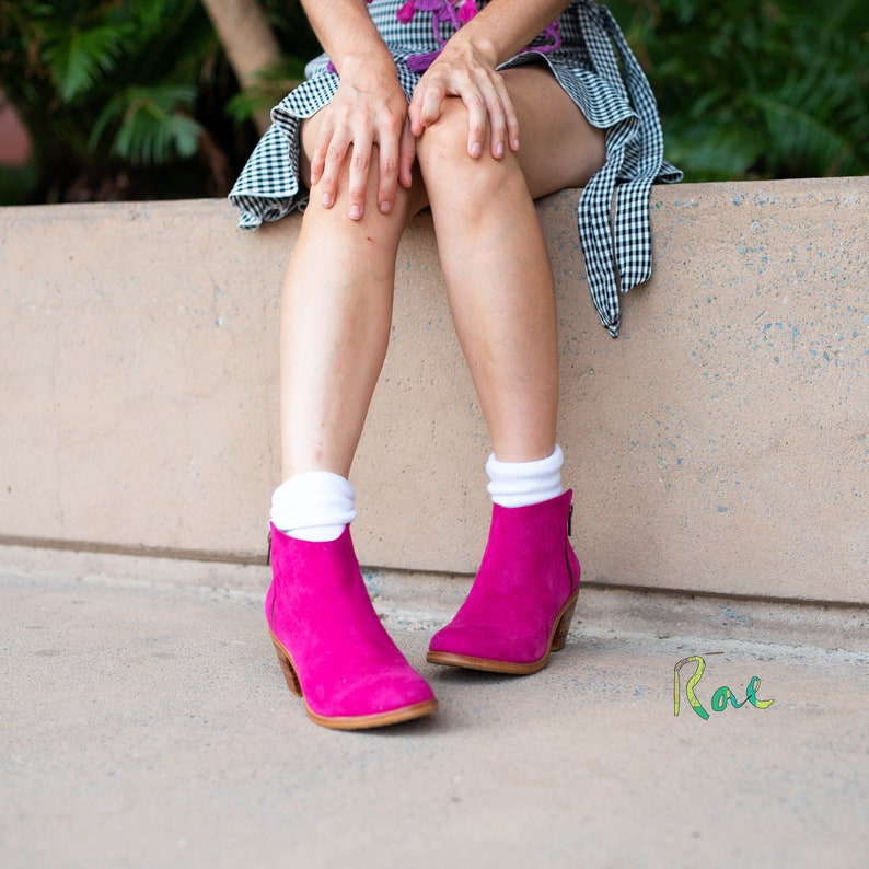 Pink Leather and Suede Ankle Boots image 0