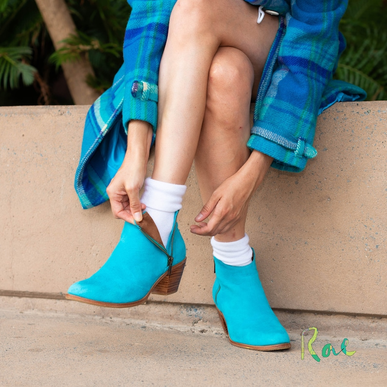 Blue Leather and Suede Ankle Boots image 0
