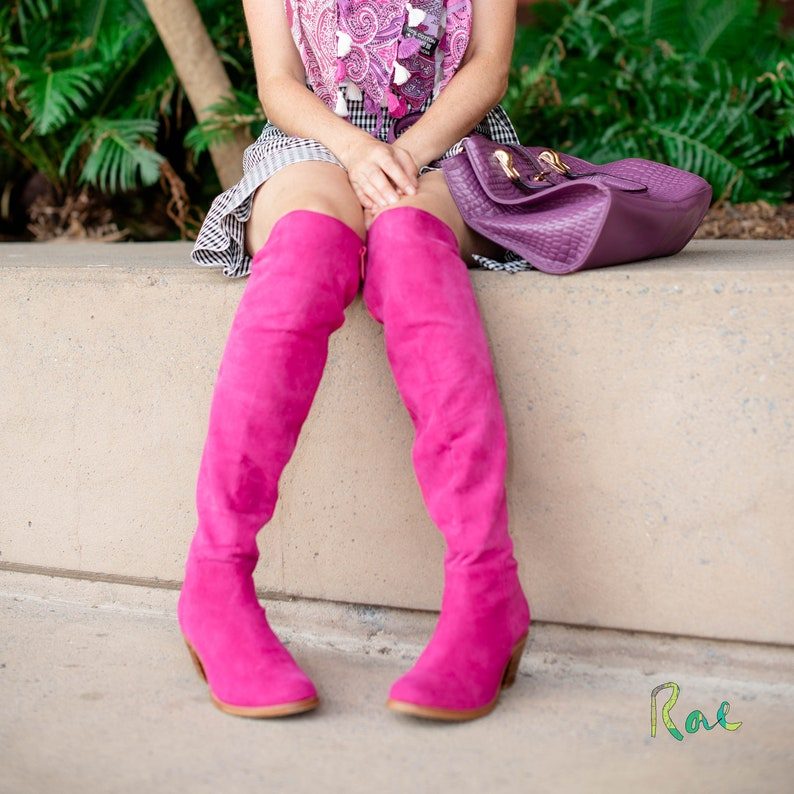 Pink Over-The-Knee Leather and Suede Boots image 0