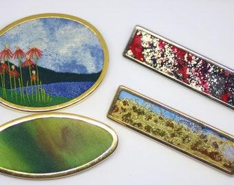 Silk painting UHLIG Unique tie clip clip 5.8 x 1.5 cm-vintage tie clip hand painted German silk artist UHLIG OOAK Artisian made