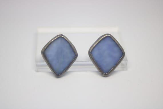 Vintage blue glass dangle earrings stunning mother/'s day gift