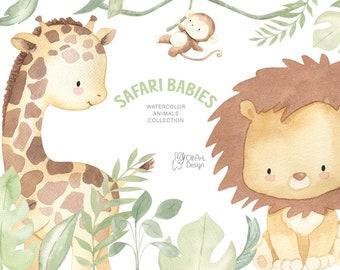 SAFARI ANIMALS. Watercolor nursery decor. Baby shower clipart.