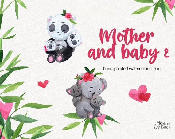 Mother S Day Clipart Panda And Koala Baby Clipart Etsy