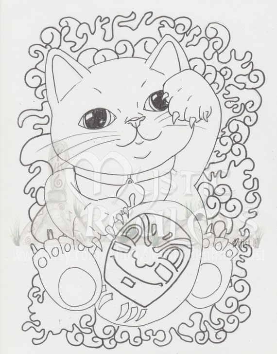 - Lucky Cat Maneki-Neko Cat Coloring Page Cat Art Tabby Etsy