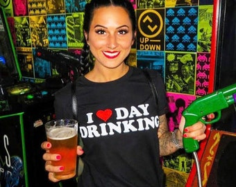 I Love Day Drinking Funny Graphic Beer Booze Unisex T-Shirt