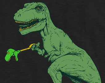 T-Rex and His Toy Funny Short Arm Tyrannosaurus Rex Unisex T-Shirt