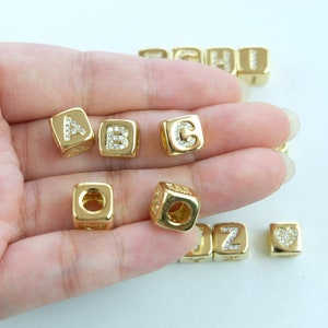Wholesale Letter Beads USA Seller Approximately 5.2mm S905 Large Sterling Silver Cube Letter Beads Sterling Silver Initial Bead