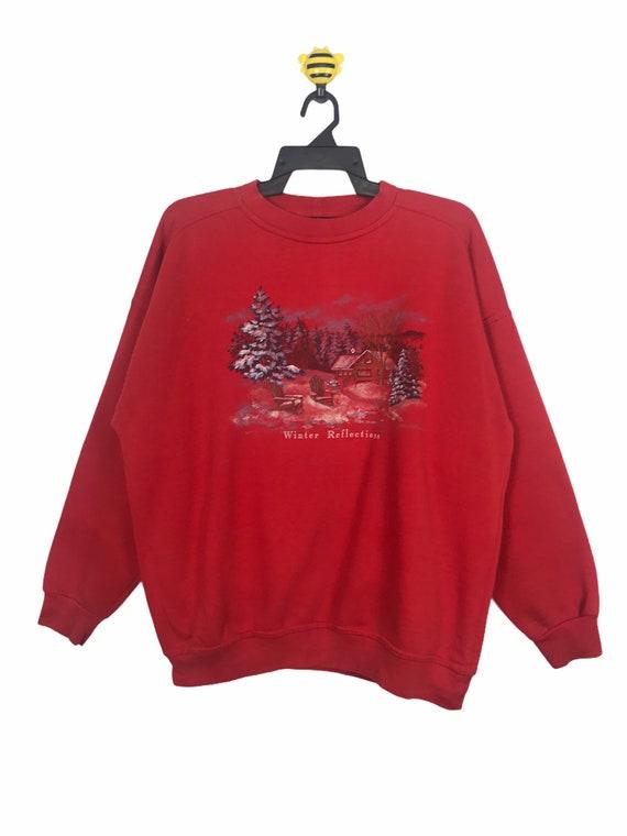 Vintage Mens 1990s Canada Sweater Vintage Nature Sweatshirt 90s Canada Nature Print High Neck Pullover Sweatshirt Black Mens Large