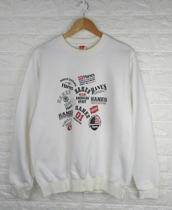 HANES LOGO Vintage 90's Sweatshirt Rare All The Ti