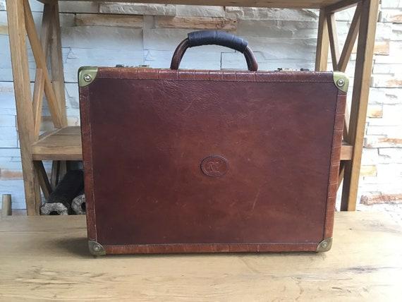"Vintage 70s"" 80s"" Italian Leather Documents Suitca"