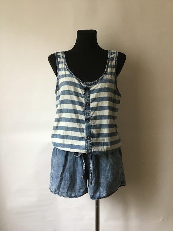 Vintage Woman's Size M-L Cotton Romper Summer Deni
