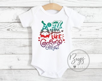 Tshirt for Kids or Baby Bodysuit Organic Cotton with Gnome in a Mushroom Forest