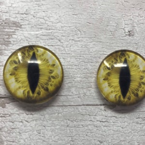 Pair of gold glass eye cabochons in sizes 6mm to 40mm dragon eyes cat fox iris 171