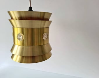 1970s resin pendant light  French New Old Stock cylindrical ceiling lights  5 available  resin /& brass  1978