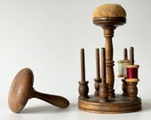 Vintage thread stand with needle pad vintage darning tool. Old wood tools for sewing. Perfect DIY craft gift.