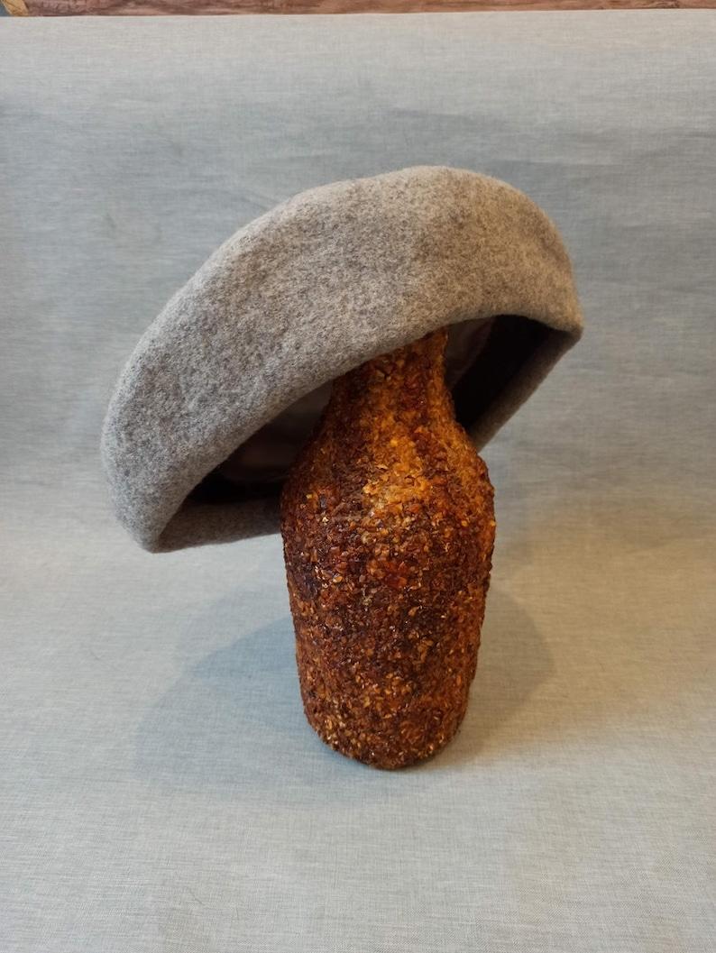 Retro woman grey hat 1970s Fashion Soviet woman fashion beret USSR woman winter hat Vintage USSR wool woman hat