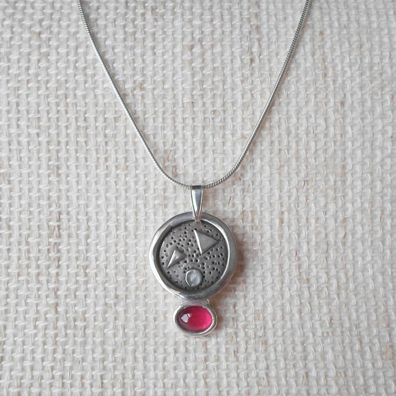 Handmade pendant of pure silver with chain Silver necklace with oval red stone Silver pendant from PMC with synthetic ruby