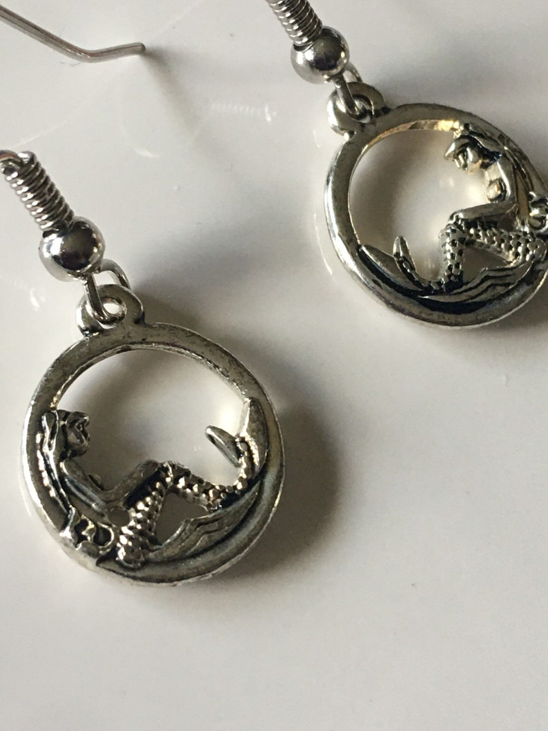 Small Double Sided Sitting Mermaid Circle Charm Earrings